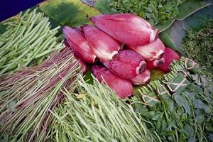Bananenbloemen, lemongrass en bouquet garni voor currie